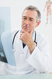 Concentrated doctor looking at x-ray in office