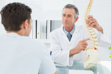 Doctor explaining spine to a patient in office