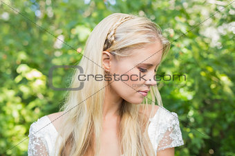 Blonde bride looking peaceful