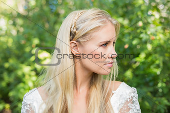 Blonde bride looking away