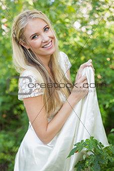 Smiling bride looking at camera