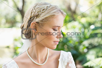 Blonde bride wearing pearls