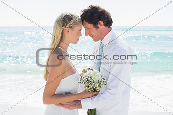 Loving couple on their wedding day