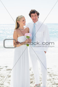 Cute happy couple on their wedding day