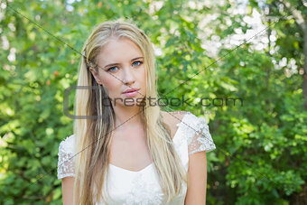 Blonde bride looking at camera