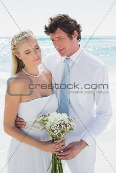 Content couple on their wedding day