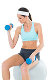 Fit woman exercising with dumbbells on fitness ball