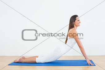 Fit woman doing the cobra pose in fitness studio