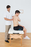 Shirtless man being examined by a physiotherapist in office