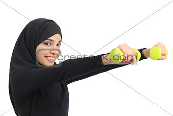 Arab fitness woman practicing sport doing weights
