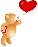 Love Teddy Bear Flying on Balloon