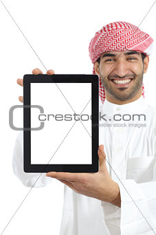 Arab man showing a tablet display app