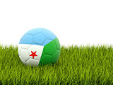 Football with flag of djibouti