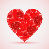 Valentine abstract red mosaic heart