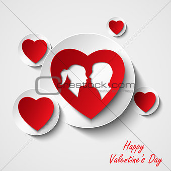 Valentine card with red hearts and lovers