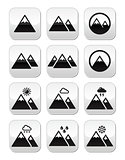 Mountain vector buttons set