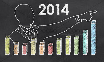 Growth in 2014 with Creative Businessman