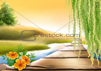 Footbridge And Meadow Stream