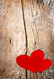 Valentines Hearts over Wood