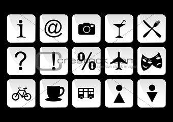 Tourist travel icon set