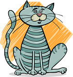 tabby gray cat cartoon illustration