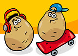 new potatoes cartoon illustration