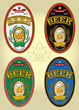 set of four oval labels for beer