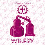 vector background with wreath winery for wine