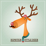 Vector Illustration Hipster Reindeer, Greeting Card Design Template, Background
