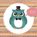 Vector Hipster Owl greeting card design illustration  with Textured Grunge Geometric Background