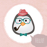Vector Hipster Penguin greeting card design illustration  with Textured Grunge Circles Background