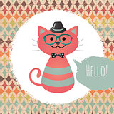 Vector Hipster Cat greeting card design illustration  with Textured Grunge Geometric Background
