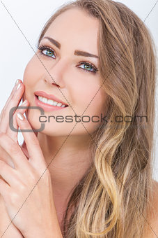 Smiling Beautiful Woman & Hands