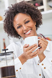 Mixed Race African American Girl Drinking Coffee