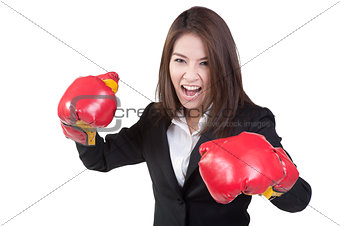 business woman Attractive Boxing glove suit isolated