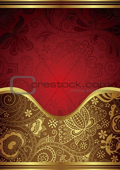 Abstract Gold Red Floral Frame Background