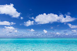 deep blue sky over the turquoise sea