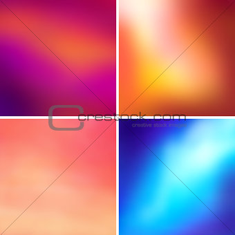 Abstract colorful blurred vector backgrounds set