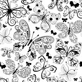 Monochrome black seamless pattern