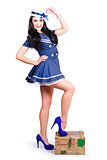 Beautiful vintage navy woman. Retro Pinups