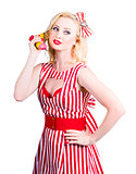 Pin up woman ordering organic food on banana phone