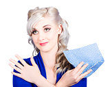 Adorable female pinup cleaner holding dish cloth