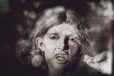 Vampire woman holding flower. Horror valentine