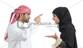 Arab couple discussing angry