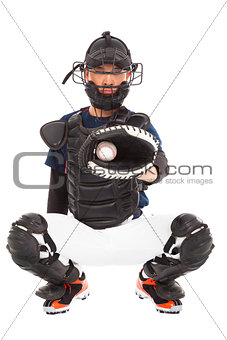 Baseball Player, Catcher, catched a baseball