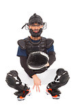 baseball player , catcher showing secret  signal gesture