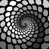 Monochrome abstract perspective spiral rotation background in op