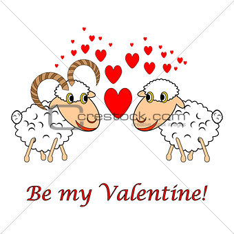 "A sheep and a ram in love with text ""Be my Valentine"". Valentine"
