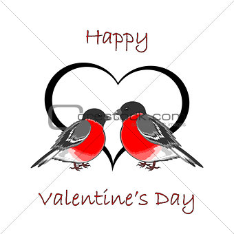 A couple of cute bullfinches (pyrrhula) with a heart. Valentine'