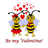 "Two funny cartoon bees with words ""Be my Valentine"". Valentine's"